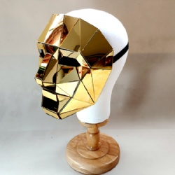 golden silver mirror man masks
