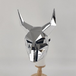 Silver mirror horn mask